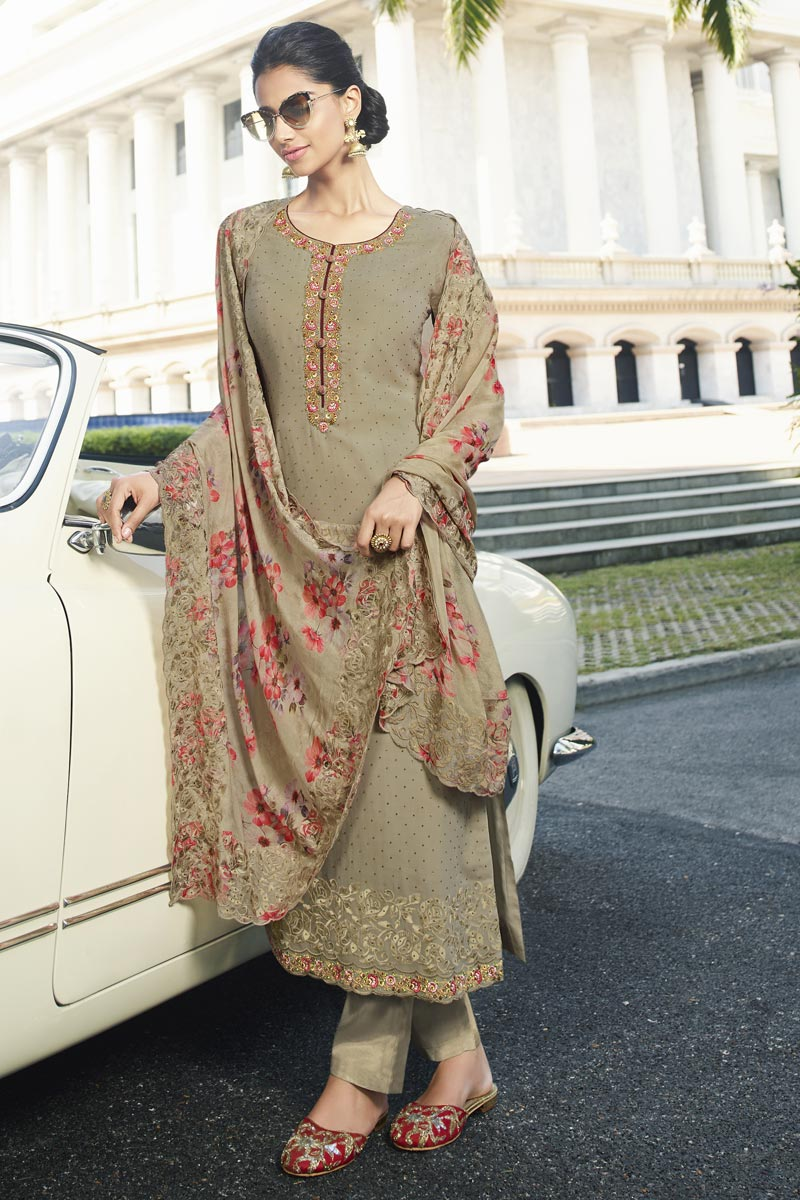 Fancy Dark Beige Color Party Style Thread Embroidered Georgette Fabric Straight Cut Dress