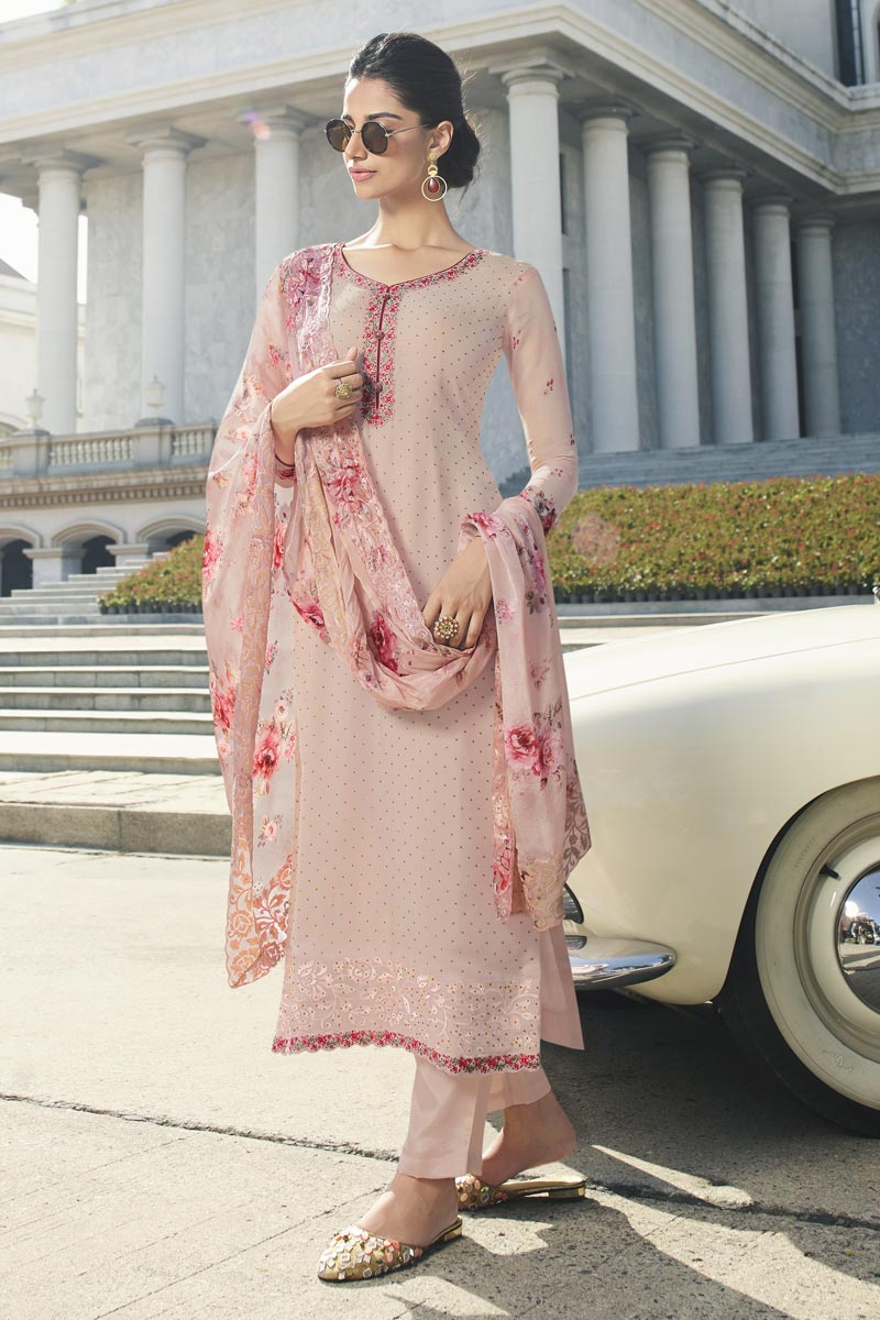 Fancy Party Style Pink Color Thread Embroidered Straight Cut Georgette Fabric Dress