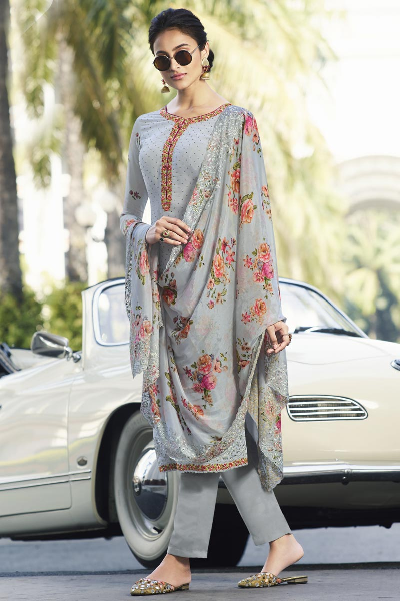 Party Style Grey Color Fancy Georgette Fabric Thread Embroidered Straight Cut Dress
