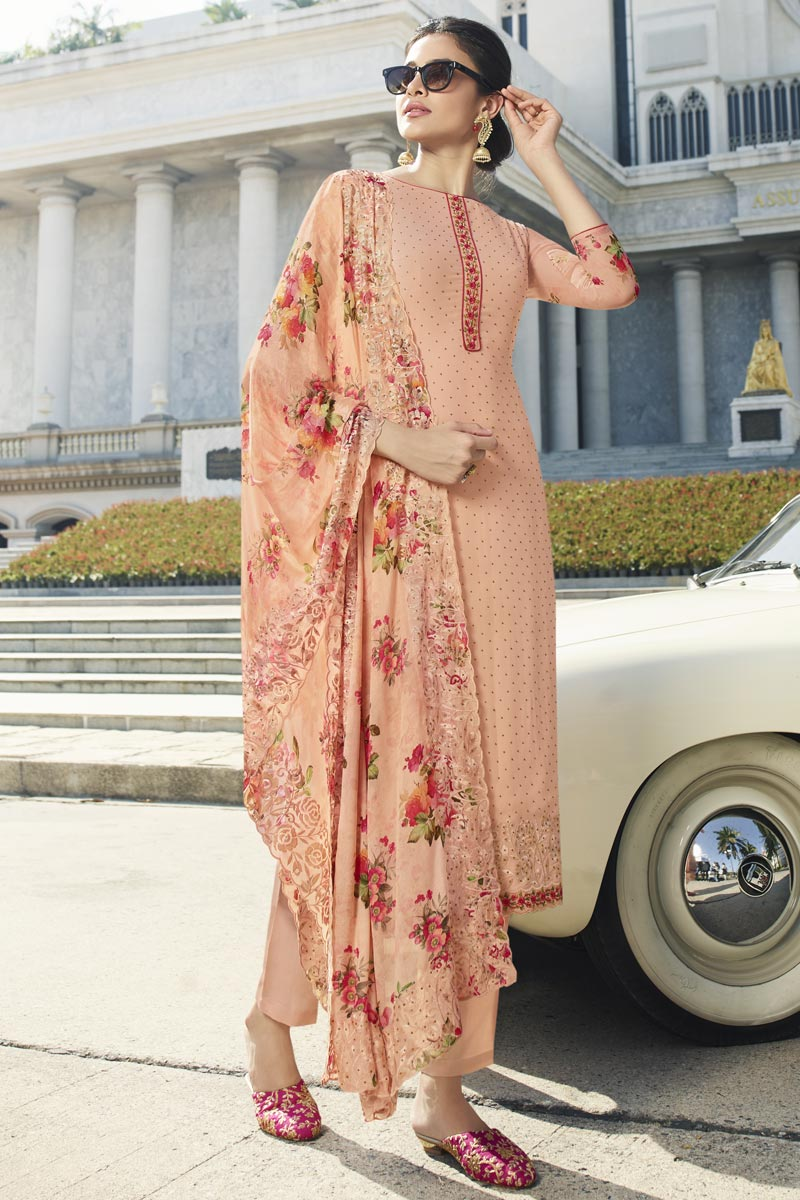 Fancy Georgette Fabric Party Style Thread Embroidered Peach Color Straight Cut Dress