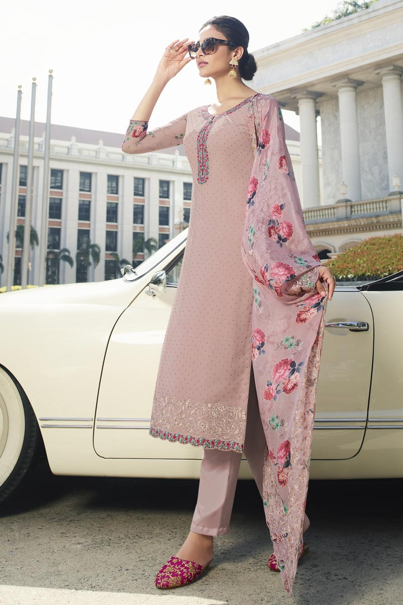 Party Style Fancy Georgette Fabric Thread Embroidered Straight Cut Suit In Lavender Color