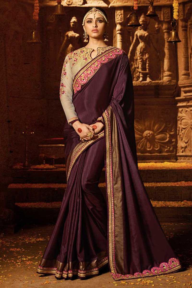 Designer Embroidered Wine Wedding Wear Saree In Art Silk With Heavy Blouse