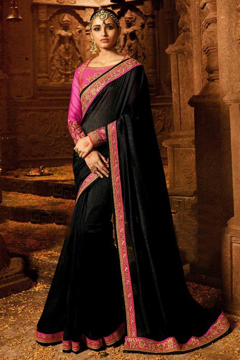 Function Wear Black Designer Saree In Art Silk With Heavy Work Blouse