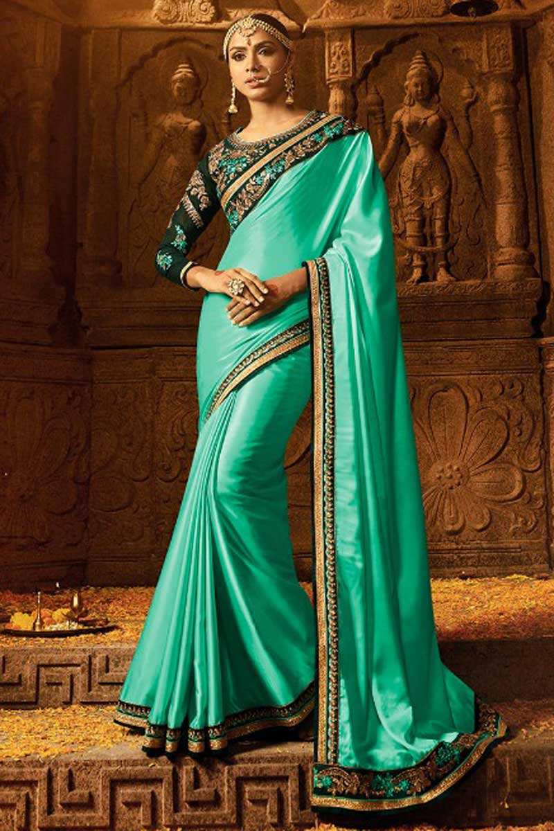 Crepe Fabric Function Wear Cyan Designer Saree With Embellished Blouse