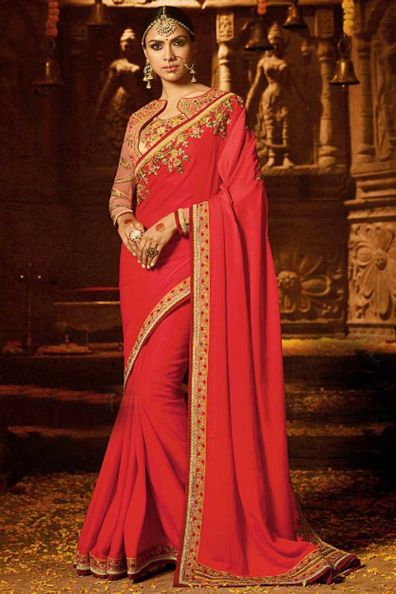 Designer Wedding Wear Crepe Fabric Saree In Red With Heavy Embroidered Blouse