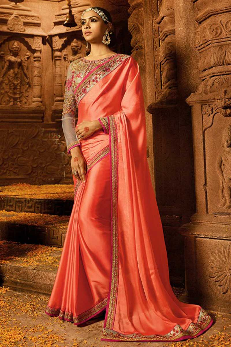 Function Wear Art Silk Designer Saree In Salmon Color With Heavy Work Blouse