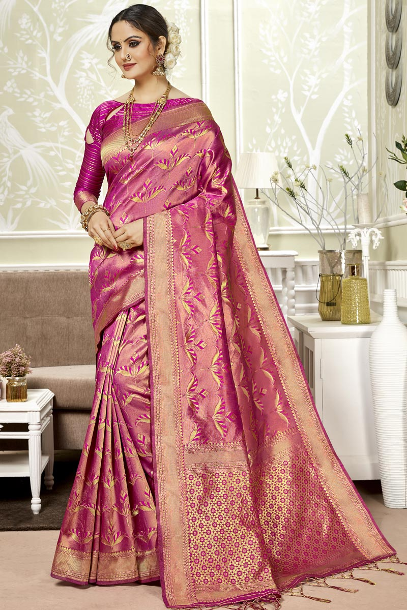 Designer Saree In Art Silk Fabric Magenta Color With Weaving Work And Party Wear Blouse