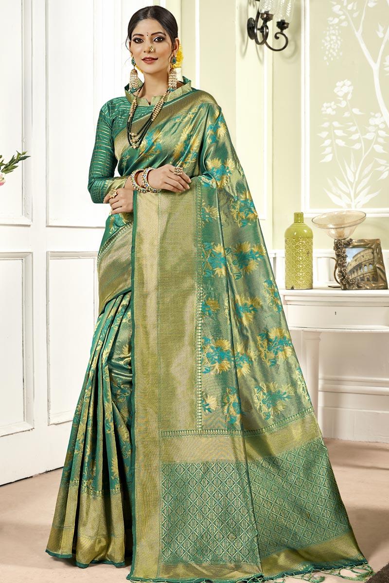 Weaving Work Art Silk Fabric Wedding Wear Teal Color Saree With Designer Blouse