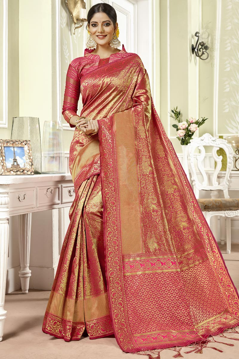 Pink Color Art Silk Fabric Designer Weaving Work Saree With Party Wear Blouse