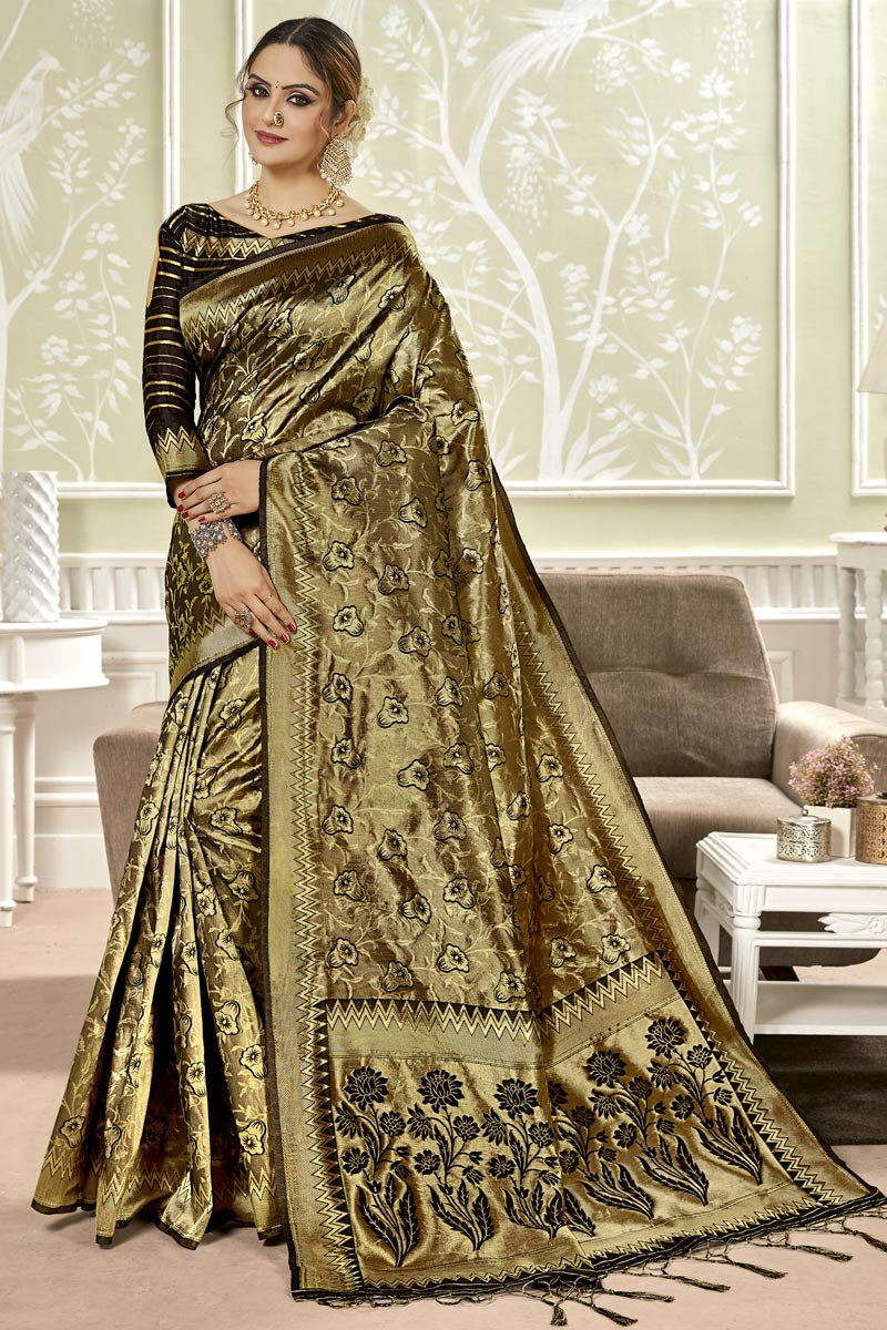 Weaving Work Art Silk Fabric Wedding Wear Saree In Black Color With Designer Blouse