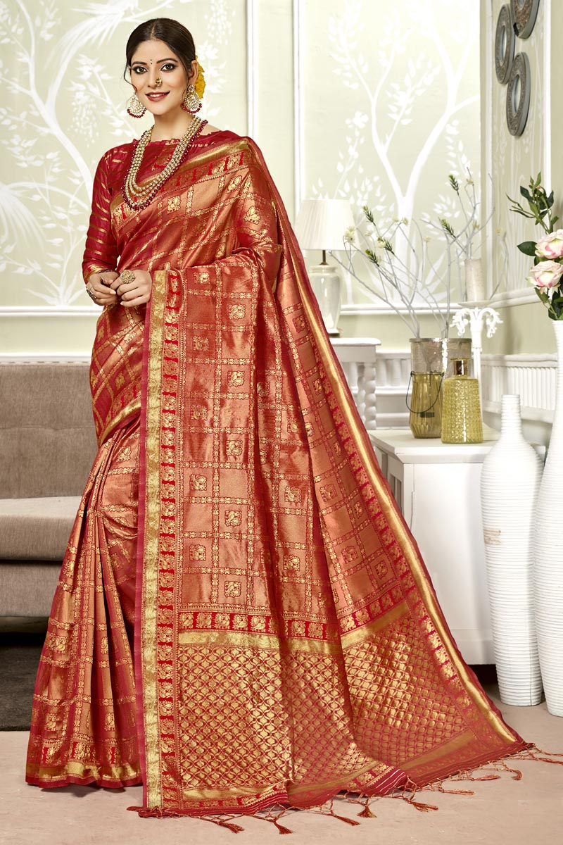 Red Color Party Wear Saree In Art Silk Fabric With Weaving Work And Blouse