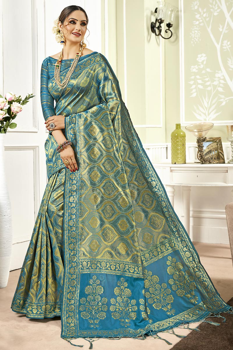 Art Silk Fabric Sky Blue Color Festive Wear Saree With Weaving Work And Designer Blouse
