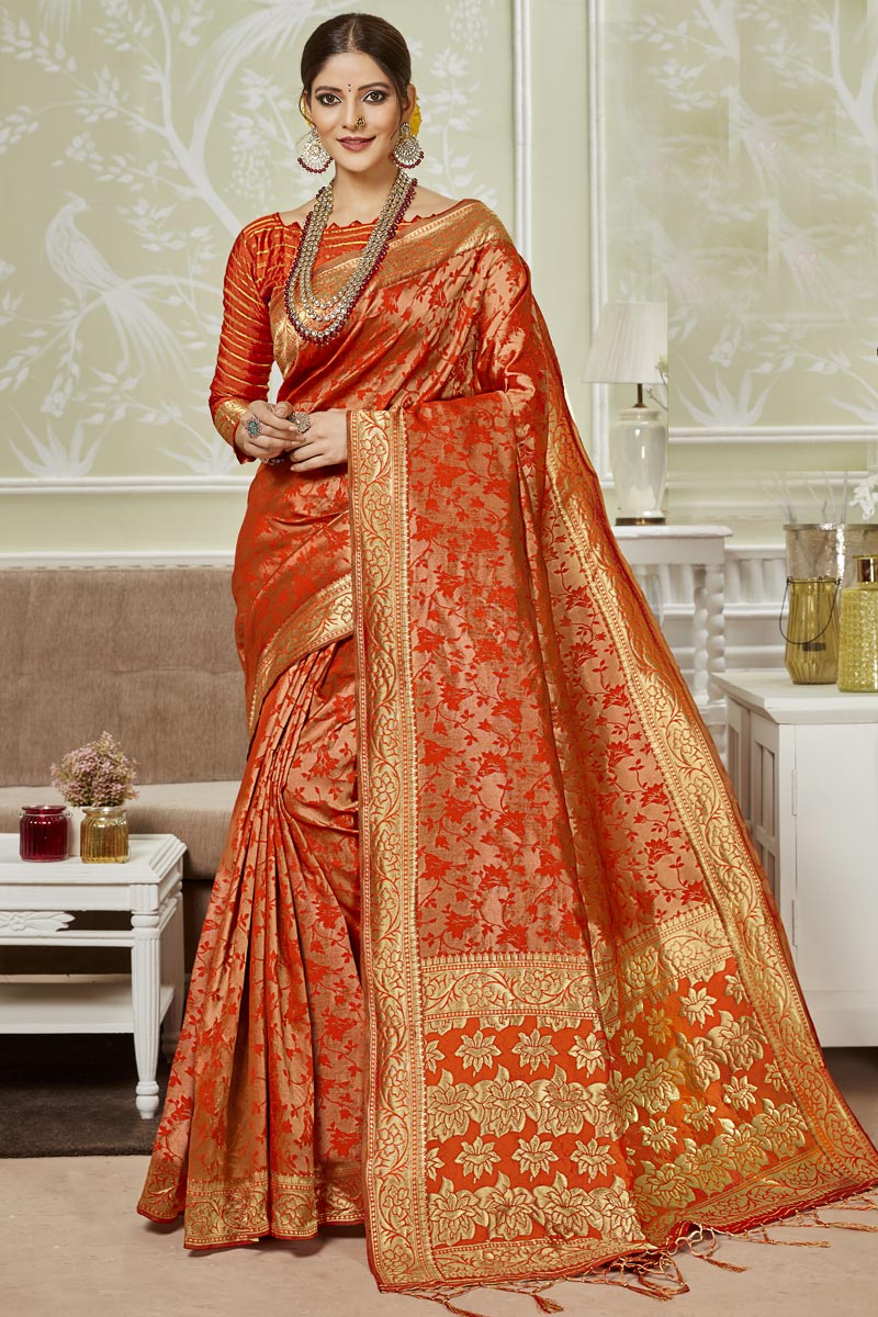 Designer Saree In Art Silk Fabric Red Color With Weaving Work And Party Wear Blouse
