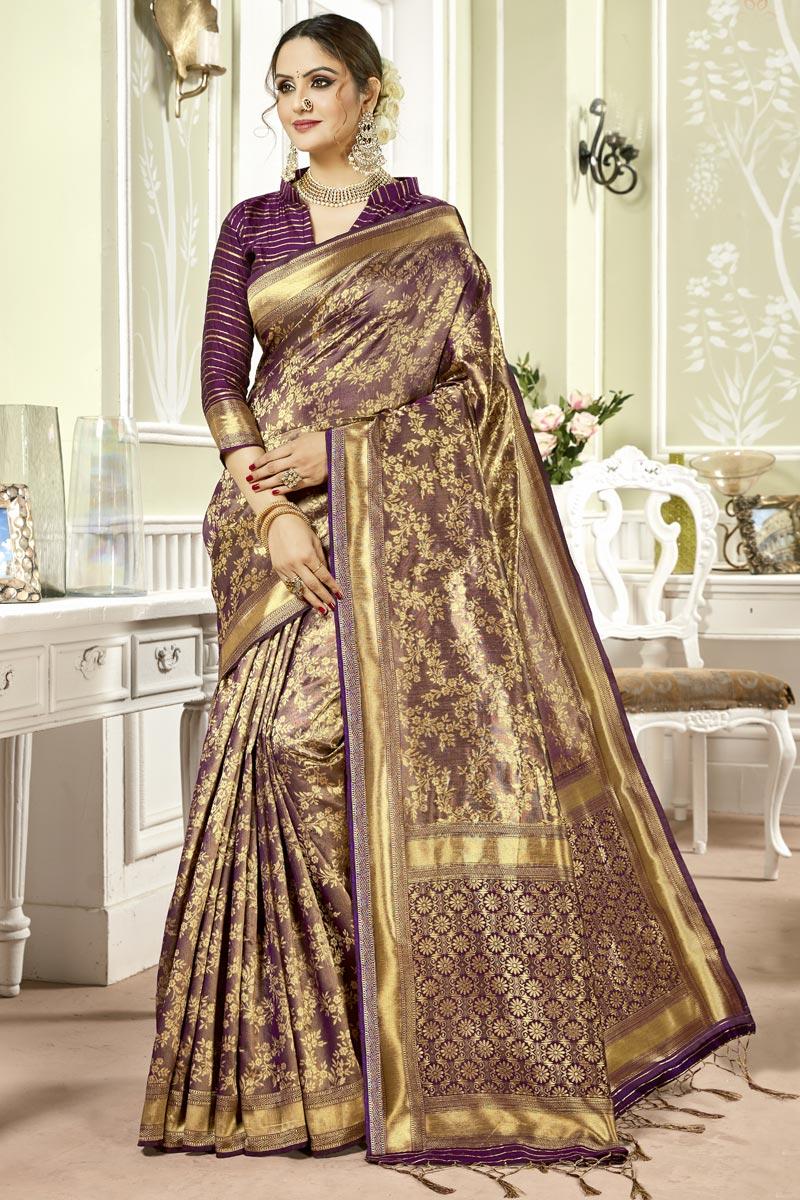 Weaving Work Art Silk Fabric Occasion Wear Purple Color Saree With Designer Blouse