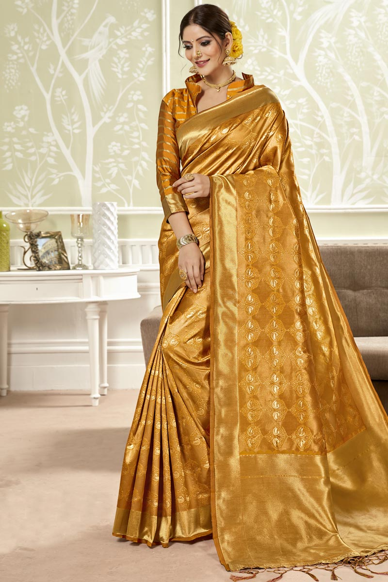 Orange Color Art Silk Fabric Weaving Work Party Wear Saree With Designer Blouse