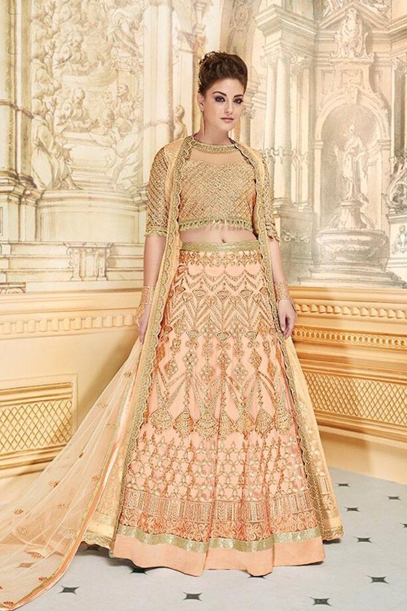 Embellished Fancy Sharara Top Lehenga In Net Chikoo Color
