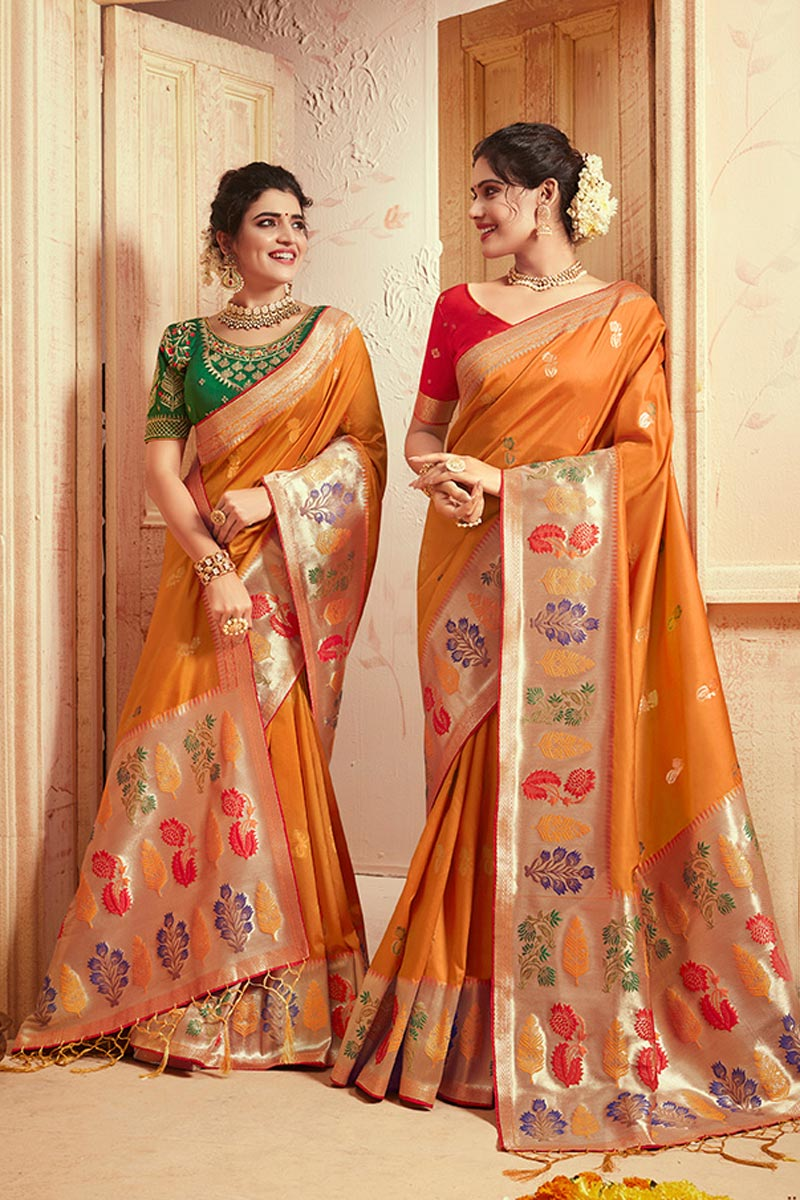 Art Silk Traditional Wear Fancy Orange Weaving Work Saree
