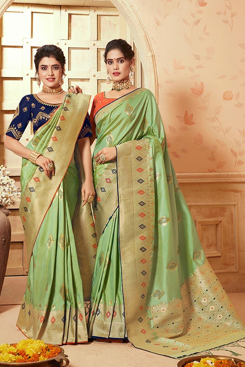 Sea Green Traditional Wear Fancy Weaving Work Saree In Art Silk