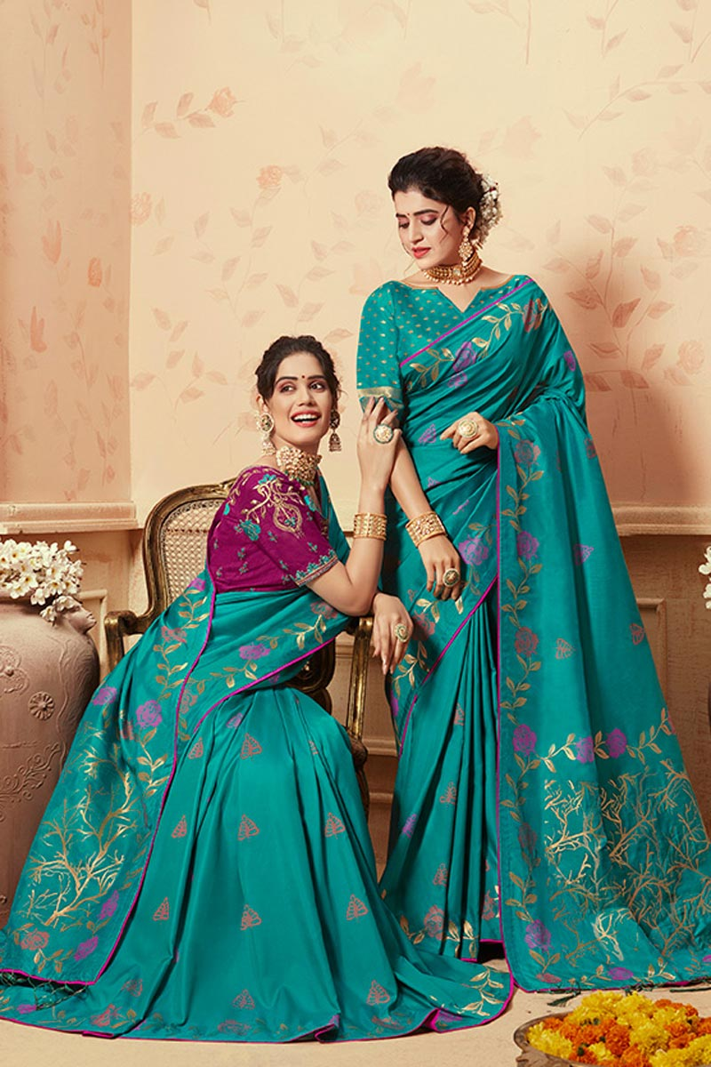 Art Silk Traditional Wear Cyan Fancy Weaving Work Saree
