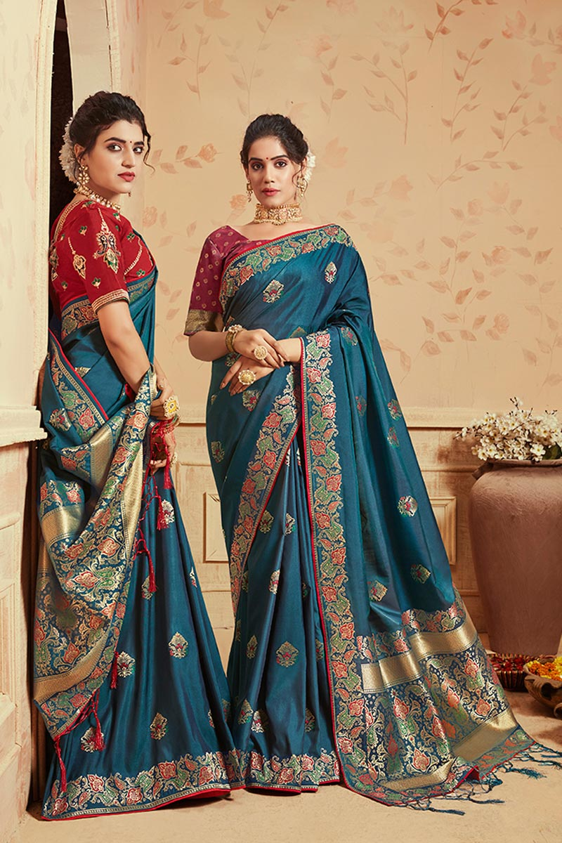 Teal Traditional Wear Fancy Art Silk Weaving Work Saree
