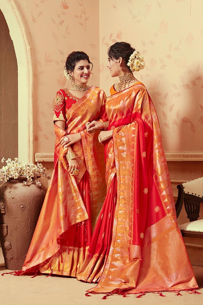 Art Silk Red Traditional Wear Fancy Weaving Work Saree