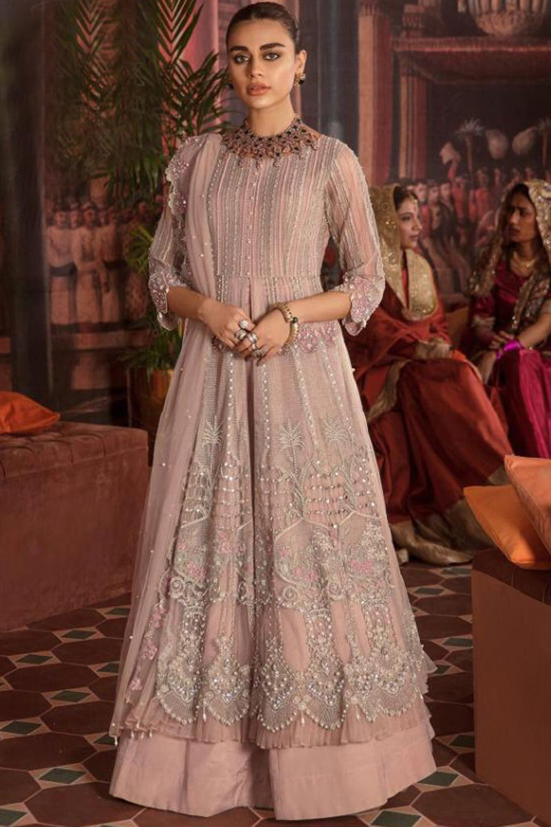 Net Fabric Pink Color Party Wear Pakistani Style Dress