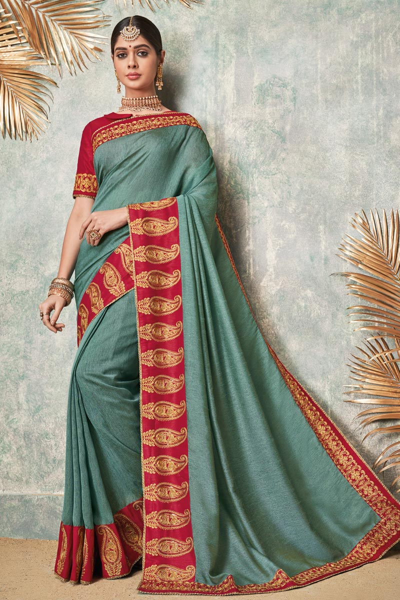 Embroidered Fancy Fabric Wedding Wear Grey Color Saree With Designer Blouse