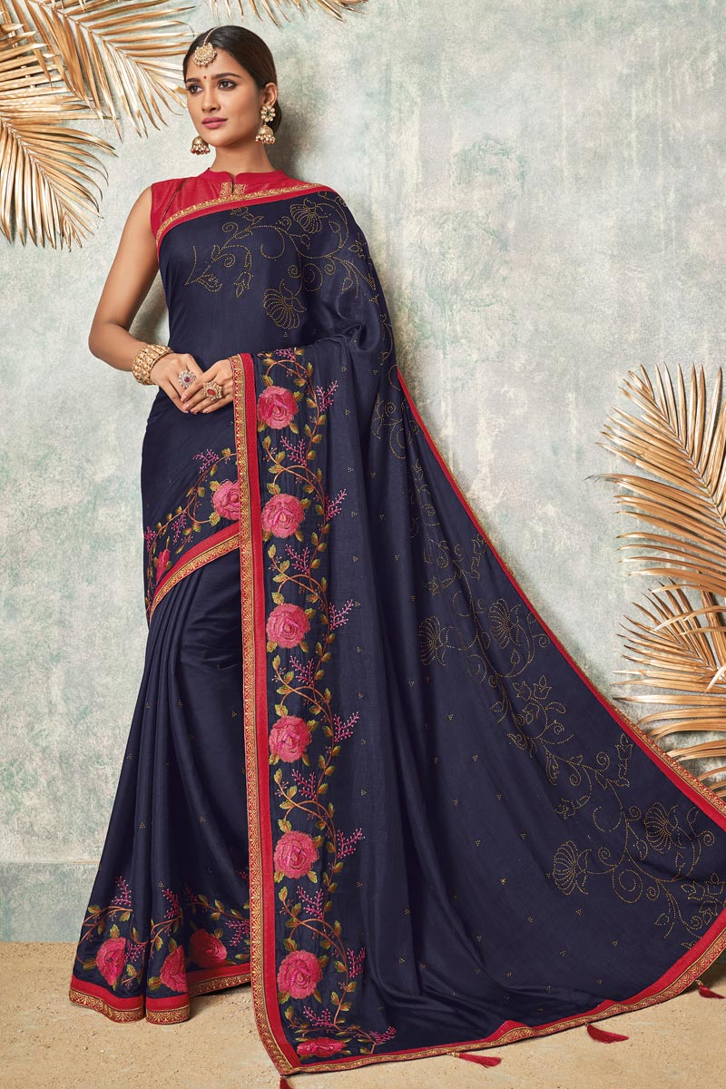 Navy Blue Color Fancy Fabric Designer Embroidered Saree With Party Wear Blouse
