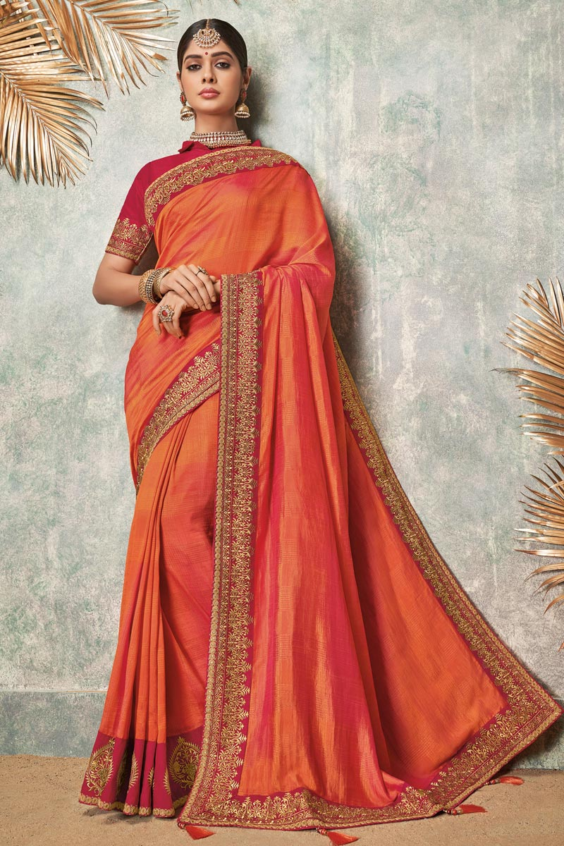 Embroidered Fancy Fabric Wedding Wear Saree In Orange Color With Designer Blouse