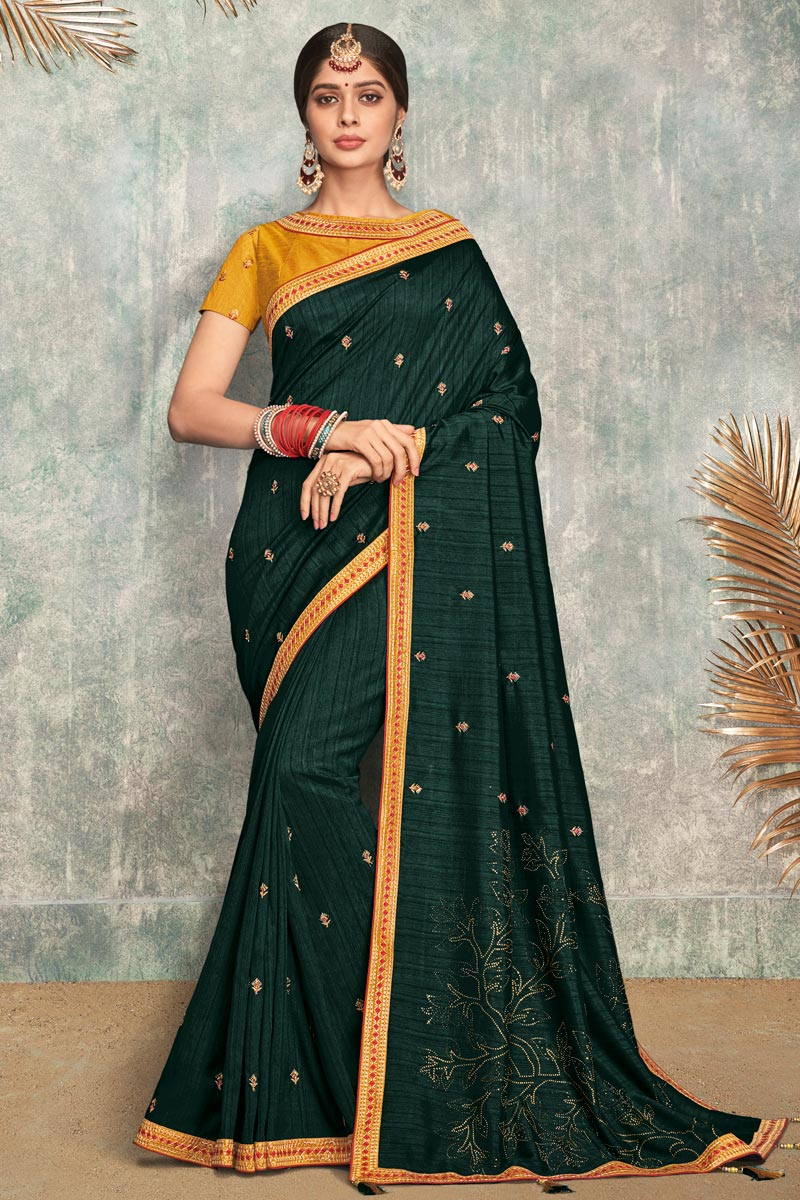 Teal Color Party Wear Saree In Fancy Fabric With Embroidery Work And Blouse