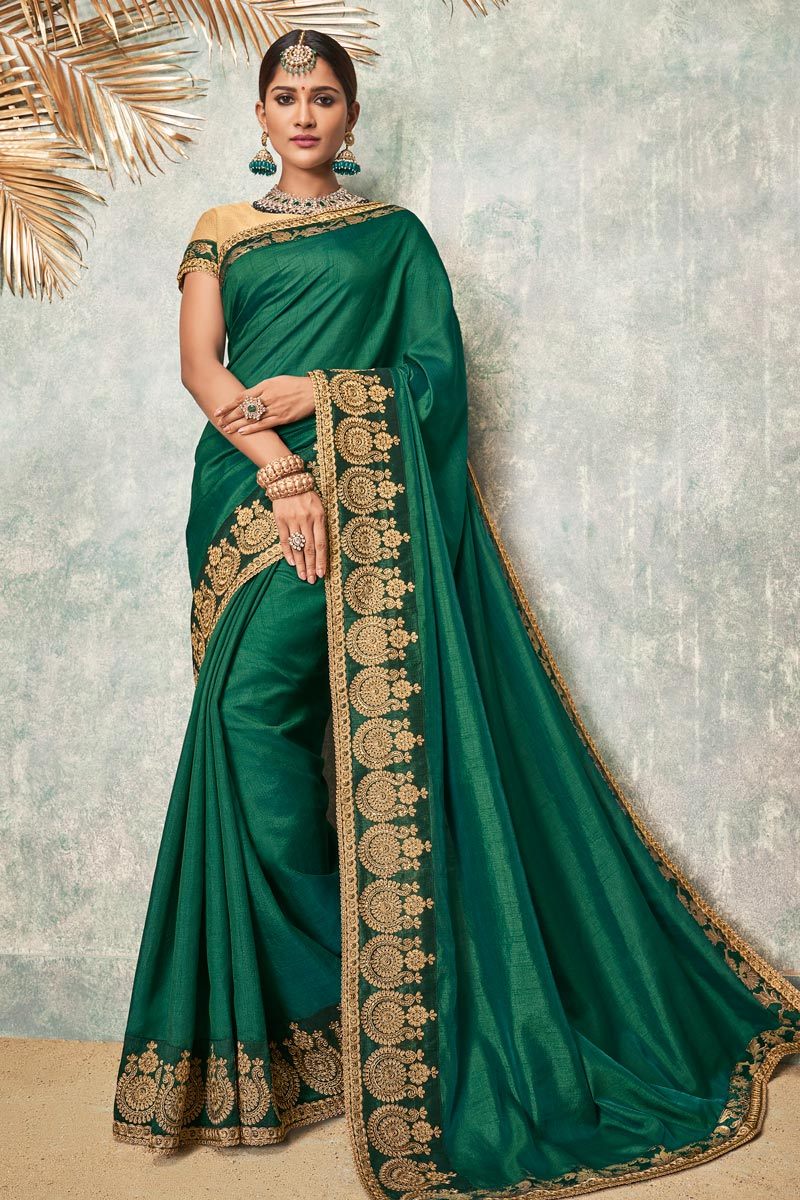 Fancy Fabric Embroidered Sangeet Wear Dark Green Color Saree With Designer Blouse
