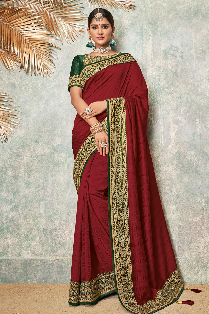 Maroon Color Fancy Fabric Sangeet Wear Saree With Embroidery Work And Blouse