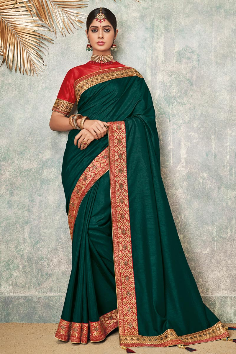 Embroidered Wedding Wear Saree In Fancy Fabric Teal Color With Attractive Blouse