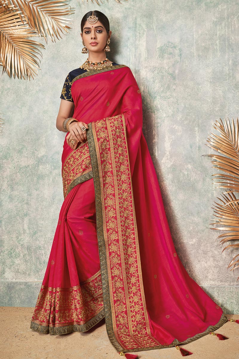 Embroidered Fancy Fabric Saree In Rani Color With Party Wear Blouse