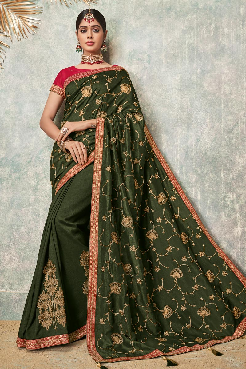 Fancy Fabric Green Color Festive Wear Saree With Embroidery Work And Designer Blouse