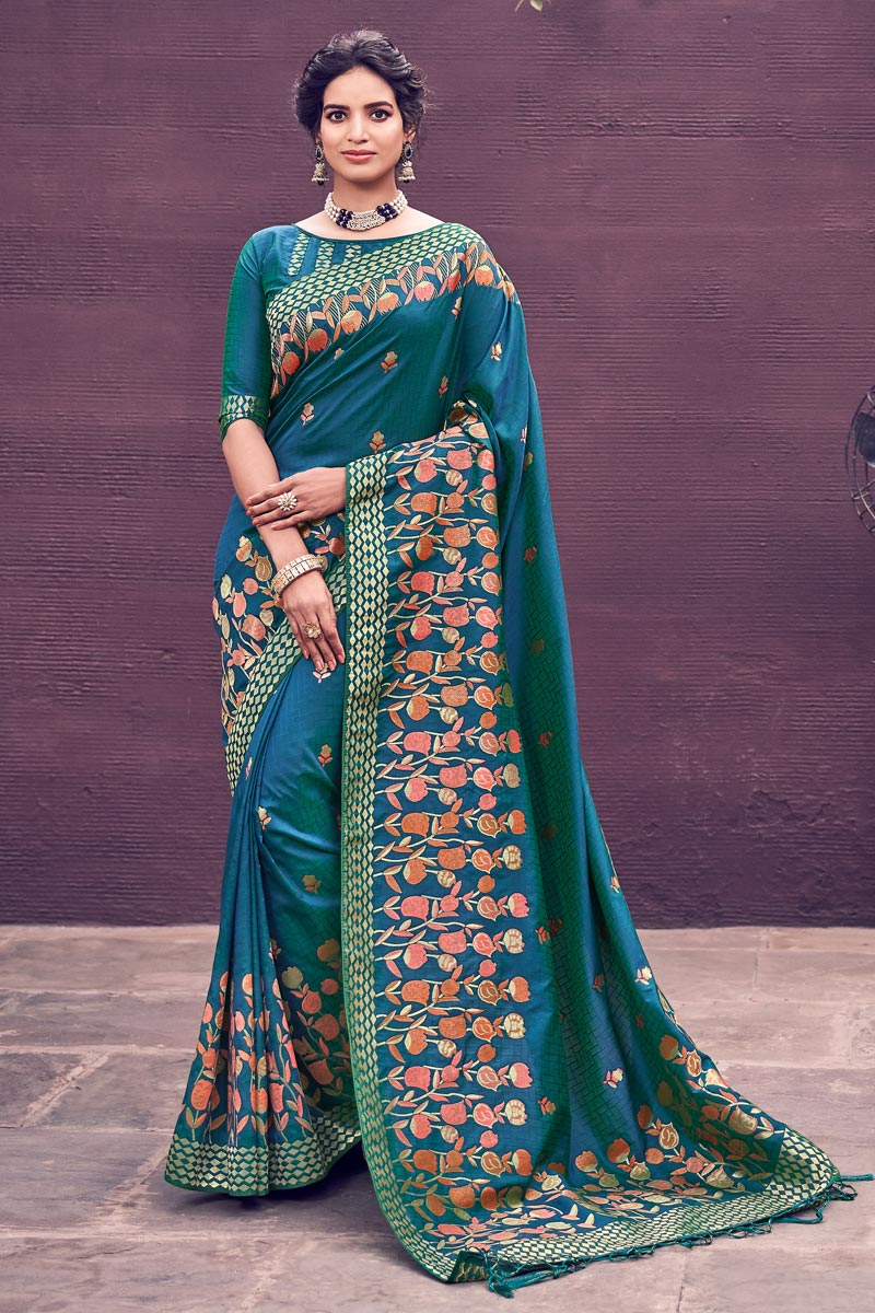 Banarasi Style Art Silk Chic Party Wear Teal Color Weaving Work Saree