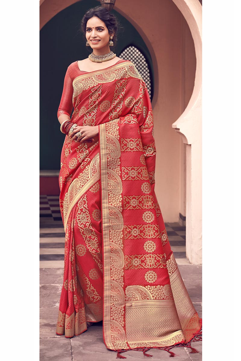 Red Color Party Wear Banarasi Style Art Silk Chic Weaving Work Saree