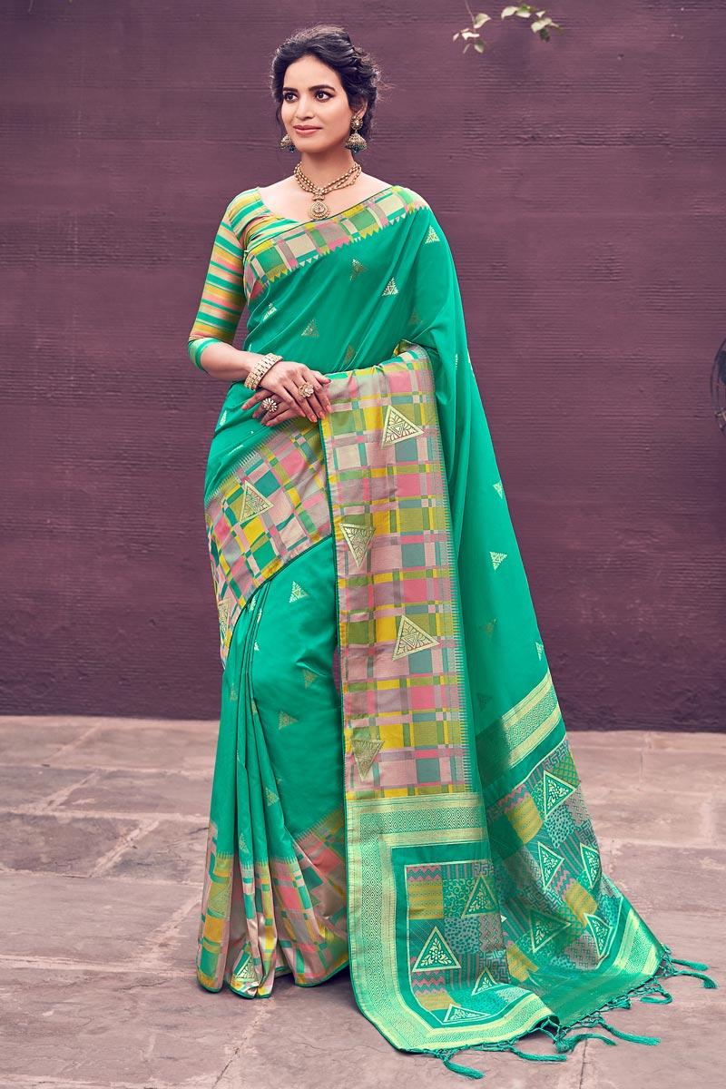 Chic Banarasi Style Art Silk Party Wear Sea Green Color Weaving Work Saree