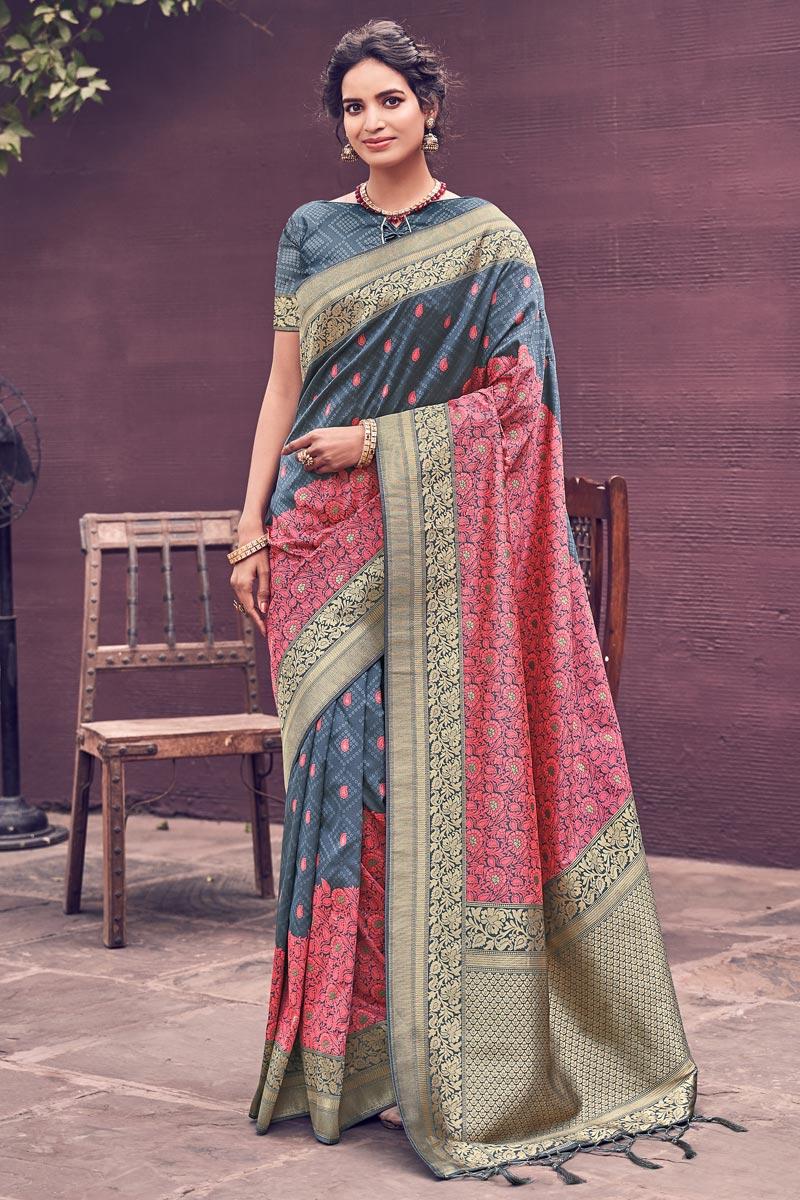 Party Wear Banarasi Style Art Silk Chic Weaving Work Saree In Grey Color