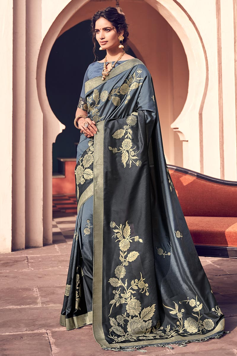 Chic Banarasi Style Art Silk Party Wear Grey Color Weaving Work Saree