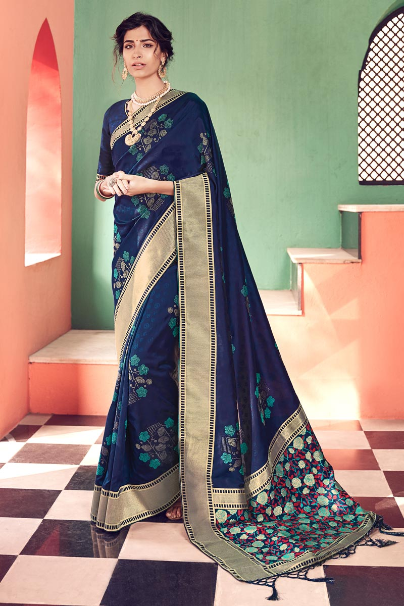 Chic Party Wear Banarasi Style Art Silk Weaving Work Saree In Navy Blue Color