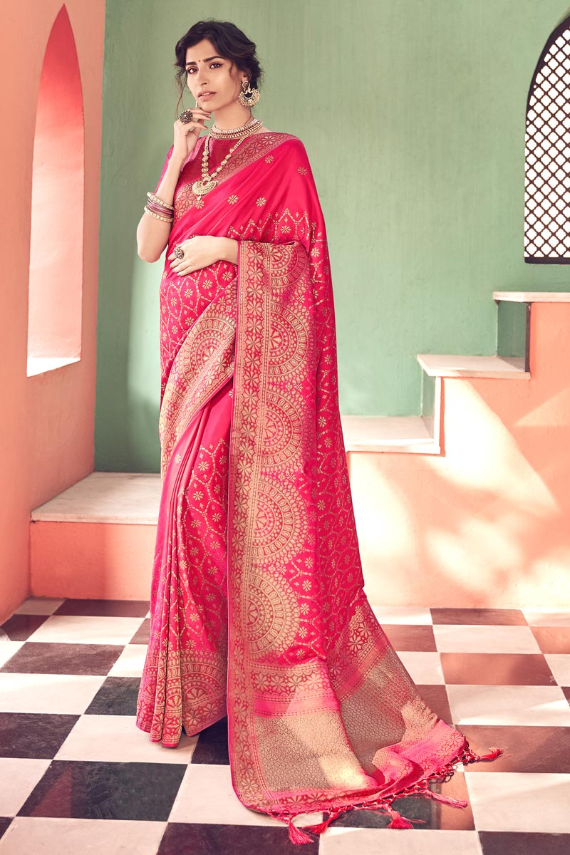 Party Wear Banarasi Style Art Silk Chic Rani Color Weaving Work Saree