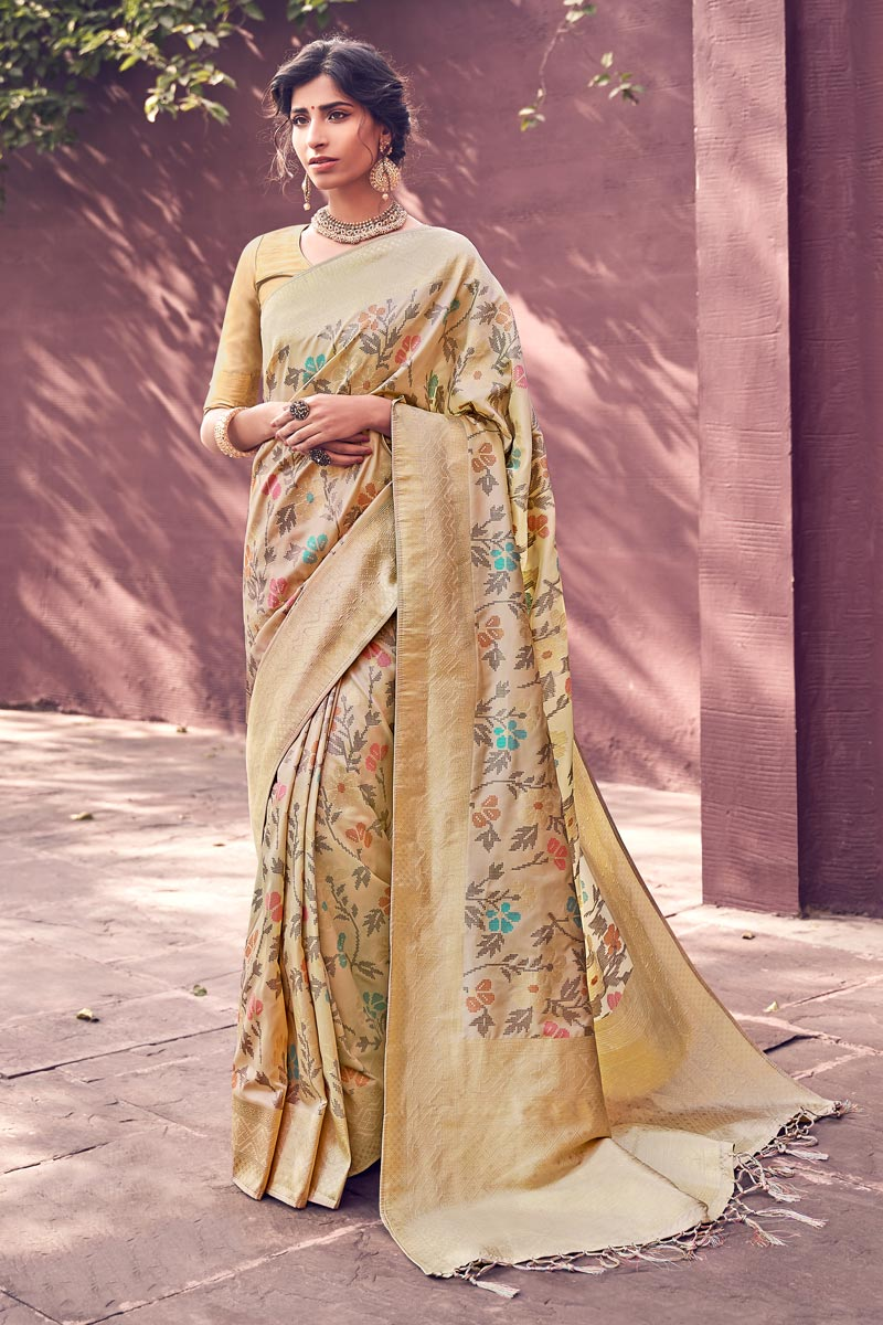 Chic Party Wear Banarasi Style Art Silk Weaving Work Saree In Beige Color