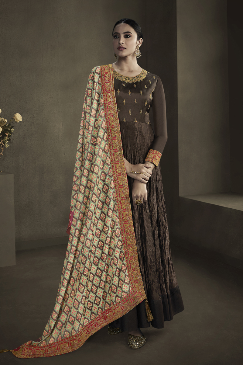 Dark Brown Color Embroidered Gown In Satin Georgette Fabric