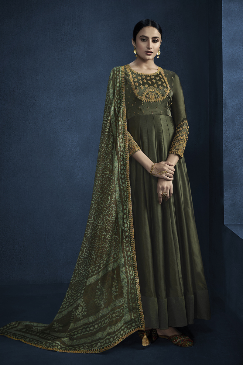 Satin Georgette Fabric Party Wear Gown In Dark Green Color