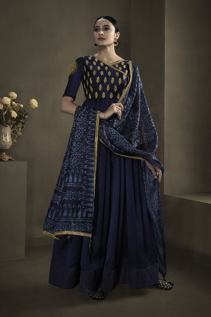 Occasion Wear Navy Blue Color Embroidered Gown In Satin Georgette Fabric