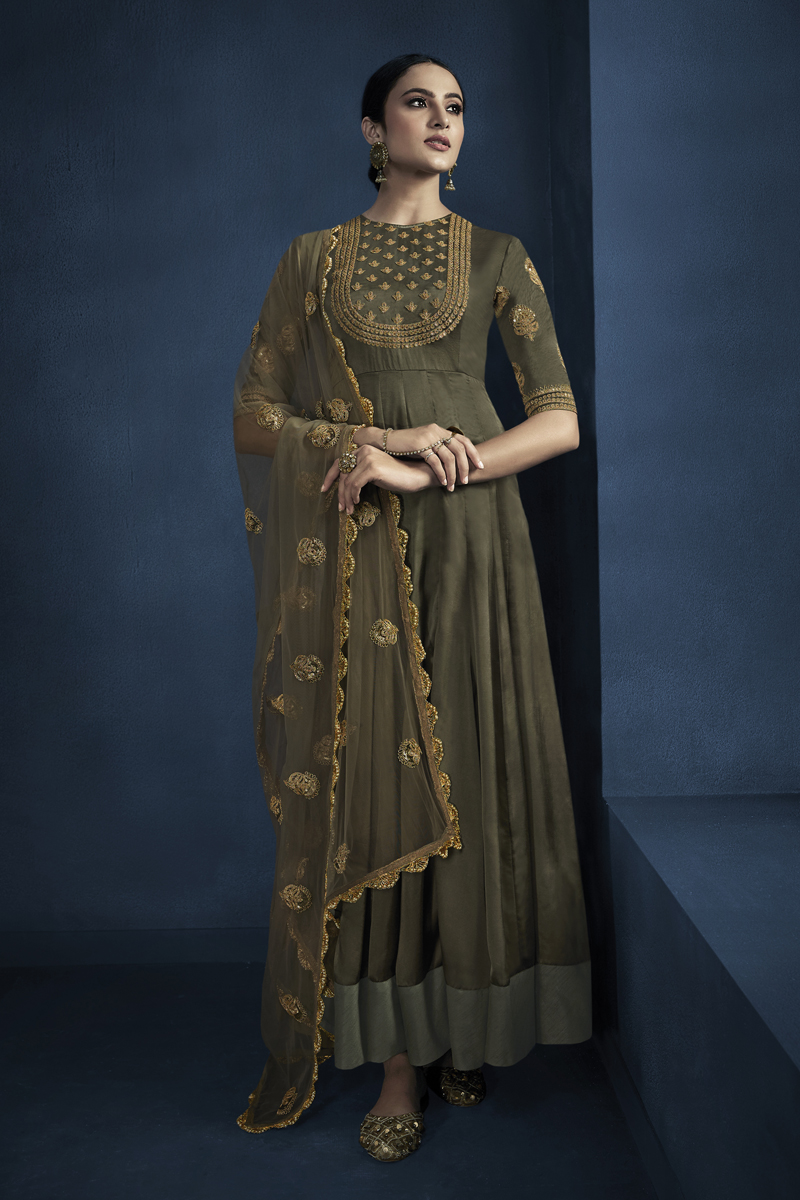 Embroidery Work Dark Olive Color Satin Georgette Fabric Gown