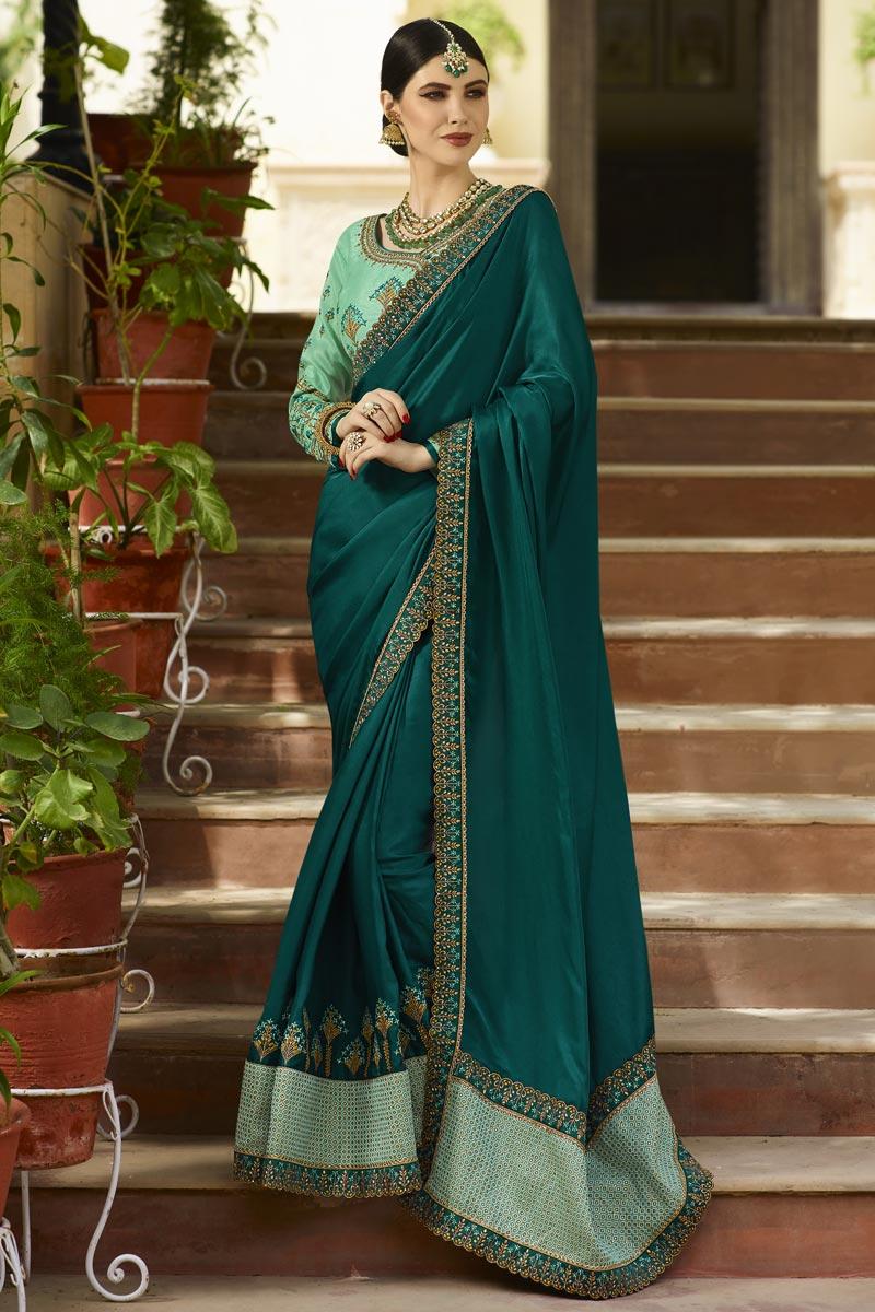 Wedding Wear Embroidered Saree In Art Silk Fabric Teal