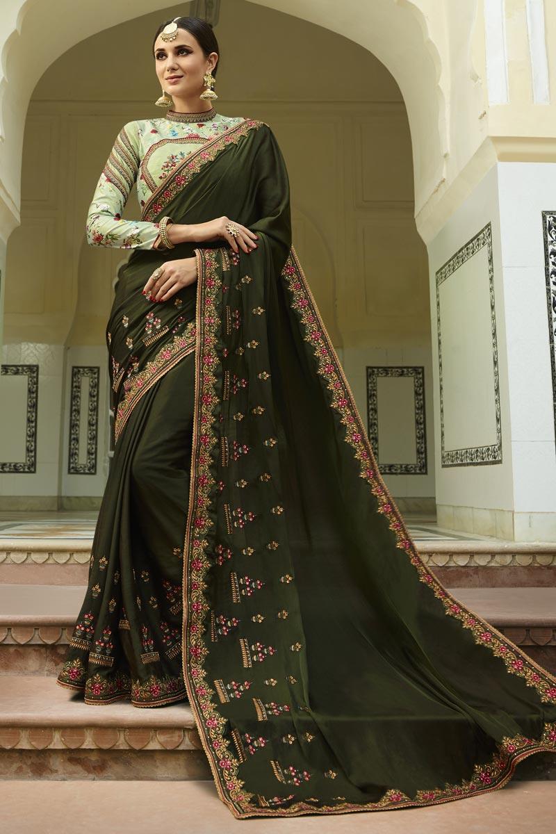 Green Art Silk Fabric Designer Fancy Wedding Wear Saree With Work