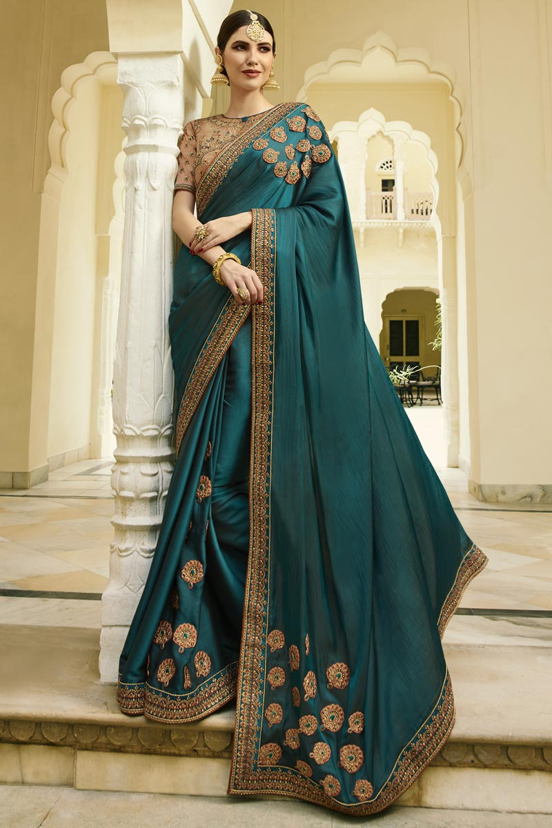 Art Silk Fabric Embroidered Saree In Teal For Wedding Functions